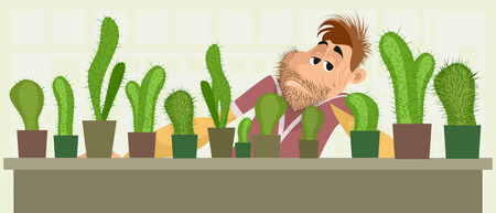 Vector illustration of a sad cactus seller