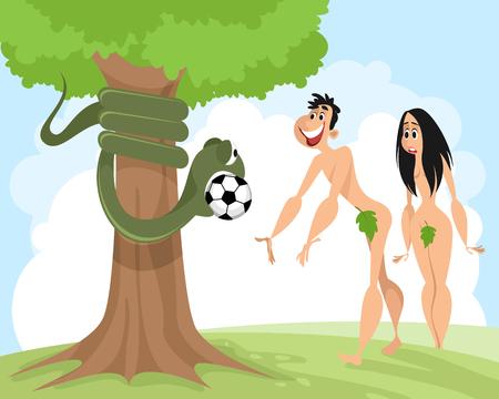 ヘビはサッカーボールベクトルのイラストでアダムを誘惑します。  イラスト・ベクター素材