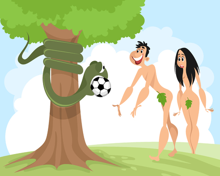 Snake seduces Adam with a soccer ball vector illustration.