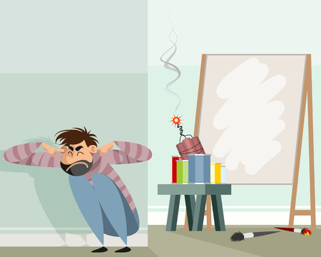Vector illustration of an abstract artist in work