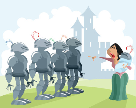 Vector illustration of knights and woman with baby