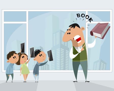 Technologies versus traditional book vector illustration. 일러스트