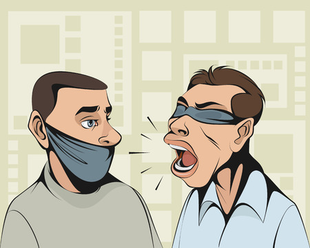 Blindfolded person tries to convince man with tied mouth.