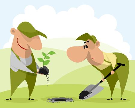 Vector illustration of gardeners planting