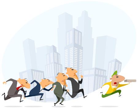 Groupe d'hommes d'affaires courir après un livreur de pizza. Vecteurs
