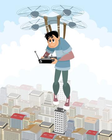 Vector illustration of aeronaut on the quadcopter  イラスト・ベクター素材