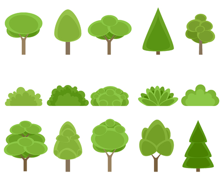 Vector illustration of set of trees and shrubs