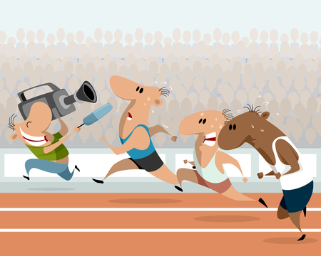 Running athletes and correspondent illustration Stock Illustratie