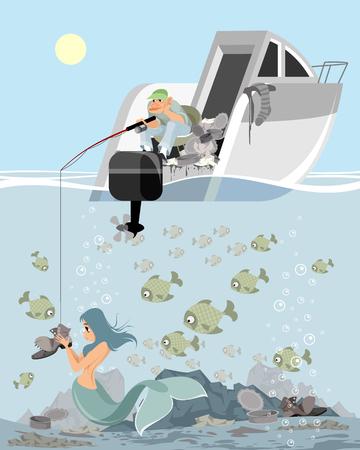 Cartoon mermaid and fisherman image illustration