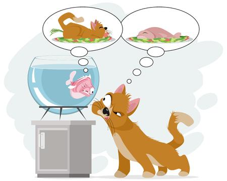Cartoon kitten and fish illustration