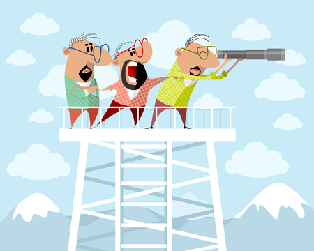 Cartoon caricature man on a watchtower illustration
