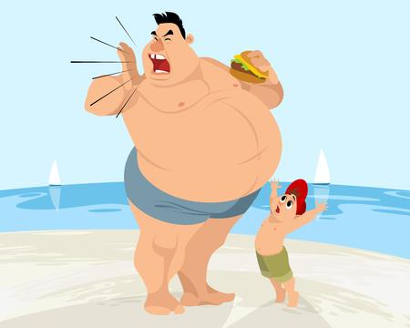 Cartoon dad and son image illustration