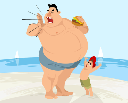 Cartoon dad and son image illustration