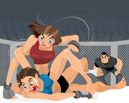 Vector illustration of struggle of women in the ring Çizim