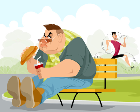 Vector illustration of a fat man and sportsman  イラスト・ベクター素材