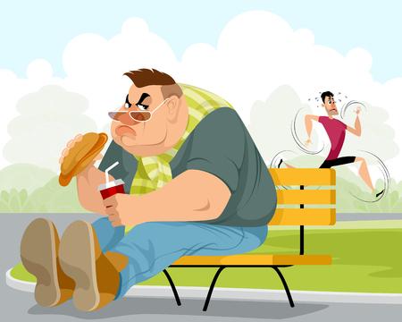 Vector illustration of a fat man and sportsman Ilustração