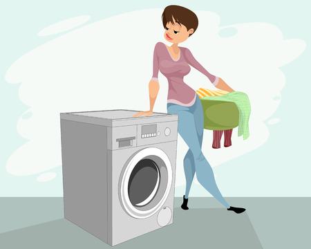 Illustrazione vettoriale di una donna e una lavatrice Archivio Fotografico - 98256929