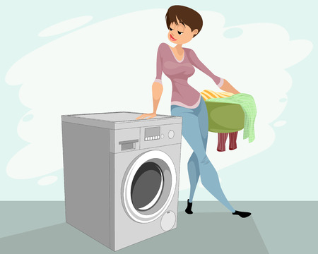 Vector illustration of a woman and a washing machine