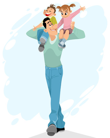 Illustration of a father with children on his shoulders Stock Illustratie