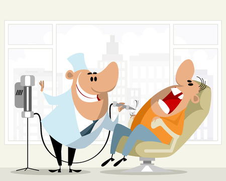 Illustration of a dentist and his patient