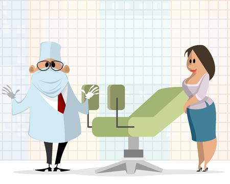 Illustratie van vrouw bij een gynaecoloogbenoeming