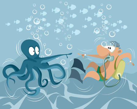 Vector illustration of a funny underwater situation  イラスト・ベクター素材