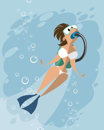 Vector illustration of a scuba diving woman