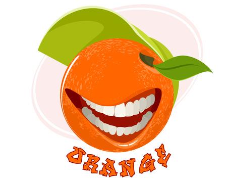 Vector illustration of funny orange on white