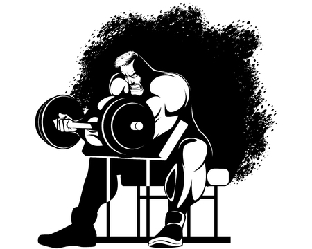 Vector illustration of a bodybuilder performing the exercise