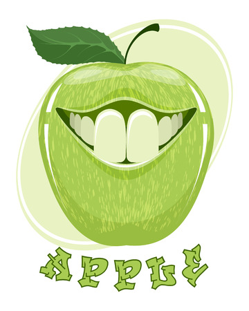 Vector illustration of funny apple on white Vectores