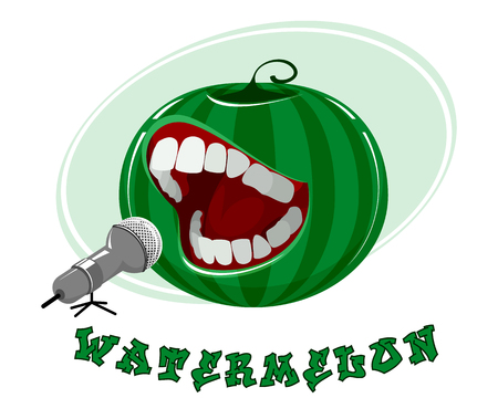 Vector illustration of singing watermelon on white