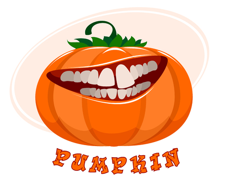 Vector illustration of funny pumpkin on white