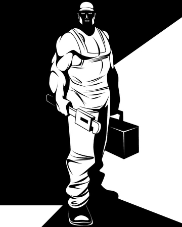 Vector illustration of silhouette of a man repairman Illustration