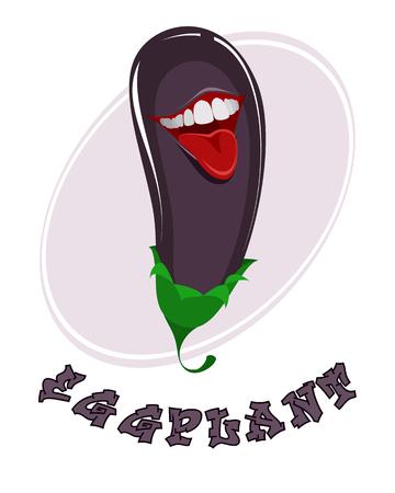 vector illustration d & # 39 ; aubergines drôles sur blanc