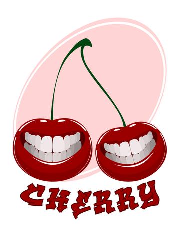 Vector illustration of funny cherry on white