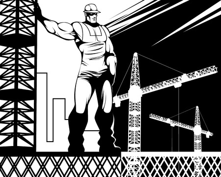 Vector illustration of a worker at a construction site