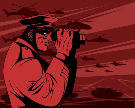 Vector illustration of a military leader in the war Ilustração
