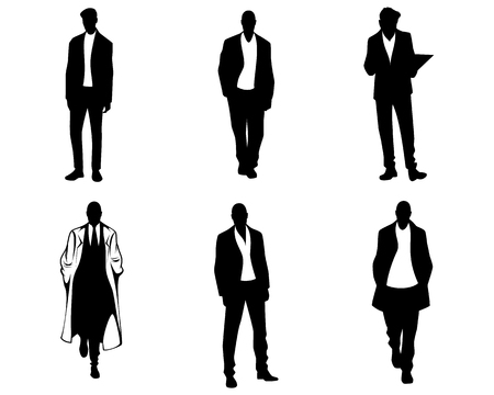 Vector illustration of men silhouettes on white background Çizim