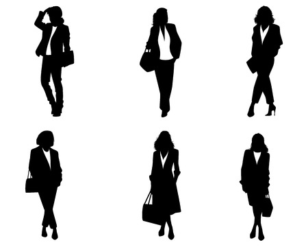 Vector illustration of six silhouettes of elegant women