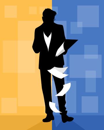 Vector illustration of silhouette of a man viewing documents Illusztráció