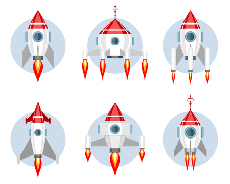 Vector illustration of a set of missiles