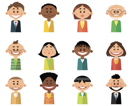 Vector illustration of set of people icons