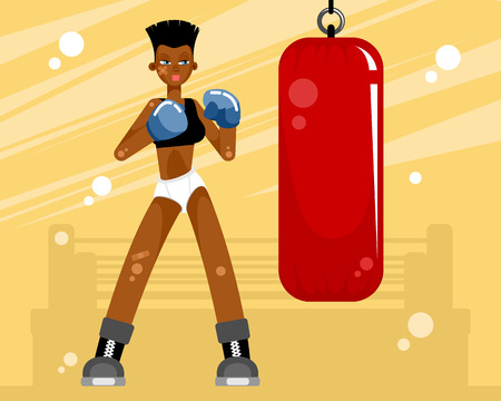 Girl training with a punching bag in the gym Illustration