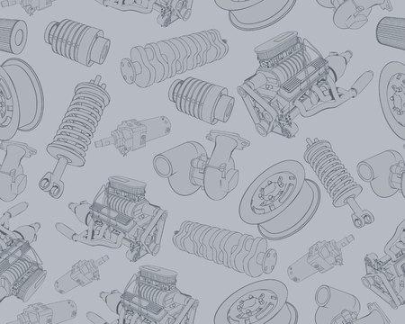 Vector illustration of seamless texture on auto parts theme