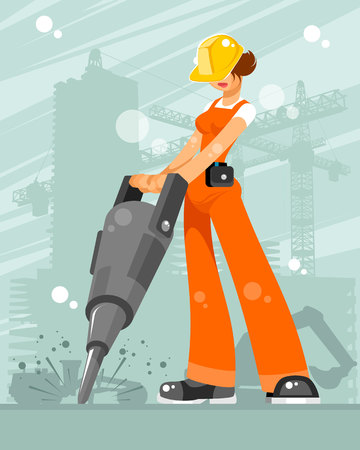 Vector illustration of woman builder on a construction site