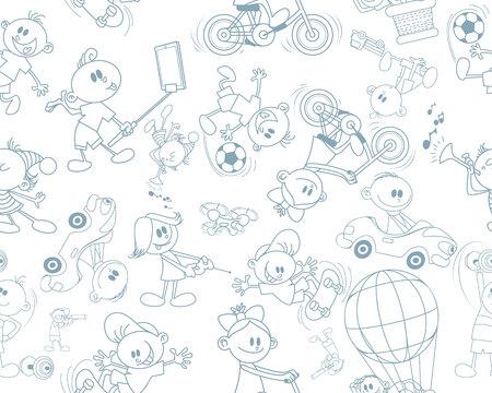 Vector illustration of seamless texture on children's theme