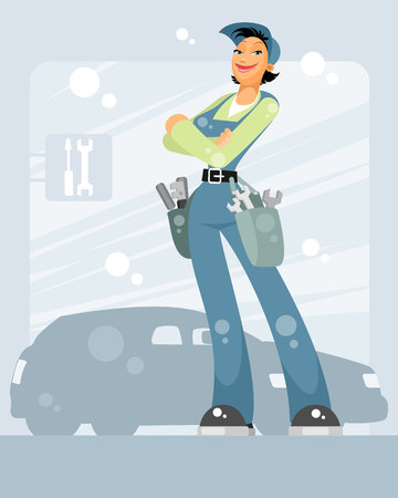 Vector illustration of a woman car mechanic