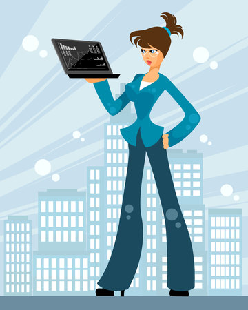 Vector illustration of a woman with a laptop