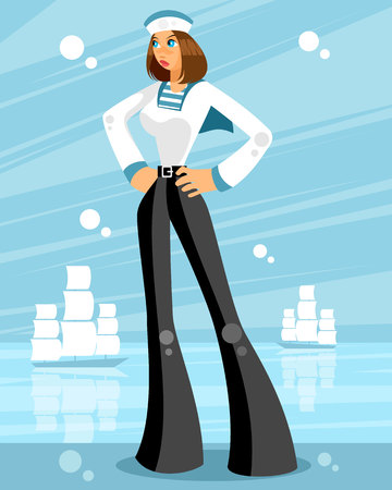 Vector illustration of a woman sailor on sea background