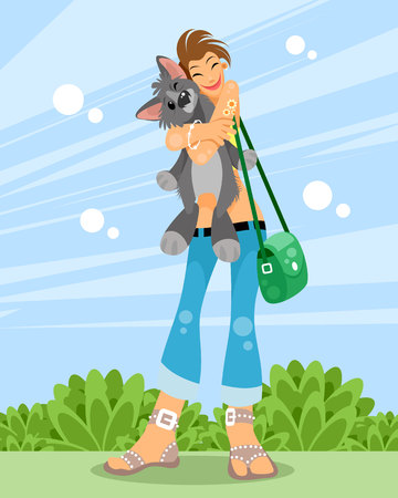 Vector illustration of a girl with her pet
